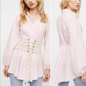 Free People Size M Tunic Top Shirt Button Down
